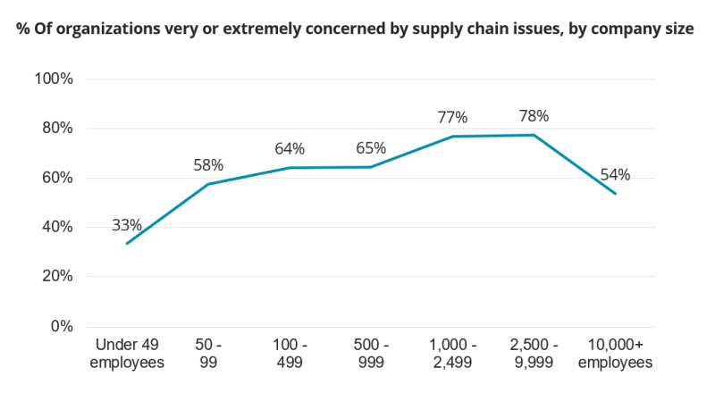 % Of organizations very or extremely concerned by supply chain issues, by company size